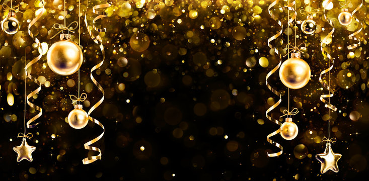 Christmas Banner - Glitter With Hanging Shiny Balls On Black Background
