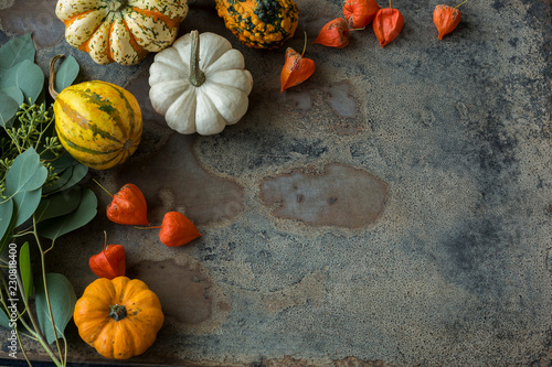 Autumnal decoration, ornamental pumpkins
