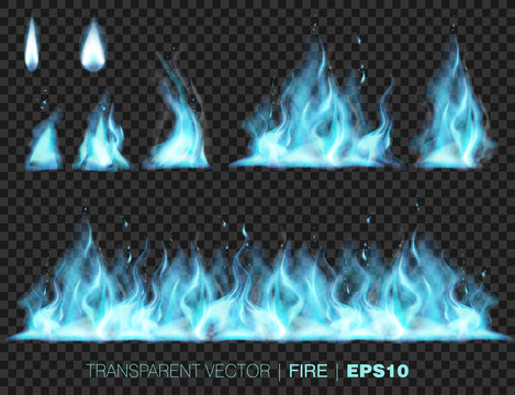 Collection of blue realistic fire flames