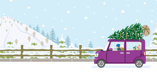 Young family riding the car which loaded the Christmas tree - Winter nature road background