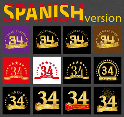 Spanish set of number thirty-four (34 years)