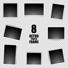 Retro realistic vector set photo frame placed on transparent background. Template photo design.