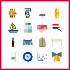 travel icons set. fresh, airplane, relax and horizon graphic works