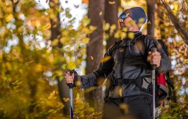 Fototapete - Fall Backcountry Trekker