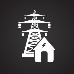 Power plant and lines on black background icon
