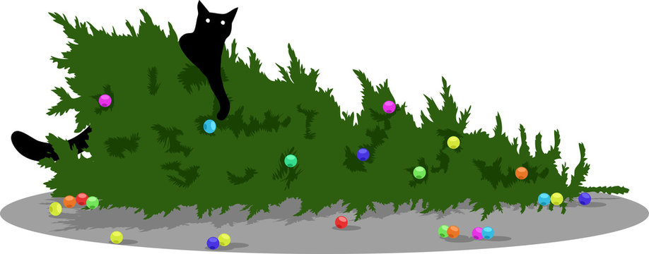 black cat dropped Christmas tree