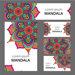 Mandala pattern design template. May be used for Business card or booklet, banner, book cover. Vector illustration.