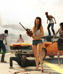 3d illustration of woman with chainsaw fight against zombies on highway
