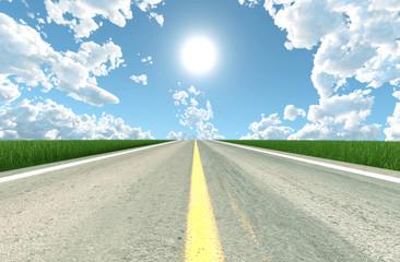 Asphalt road in sunny day,3d rendering
