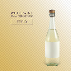 Photorealistic bottle of white sparkling wine on a transparent background. This wine bottle can be placed on any background.