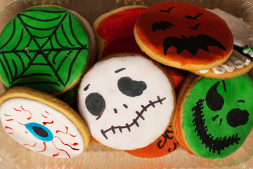 colorful bright cookies for halloween in a box
