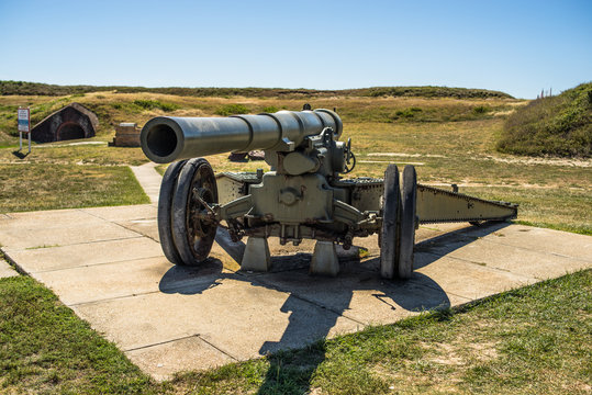 Artillery cannon located outside of historic Fort Morgan, Gulf Shores Alabama, USA
