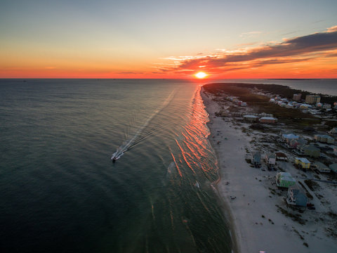 Beautiful Ocean Sunset - Drone/Aerial Photograph of Gulf Shores/Fort Morgan Alabama.  This area is known for its warm oceans and white sand beaches.