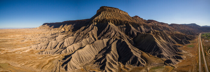 Aerial/Drone Panorama Photo of Mt. Garfield, Near Grand Junction, Colorado.  This scenic desert mesa mountain is on the western slope of the Colorado Rocky Mountains.
