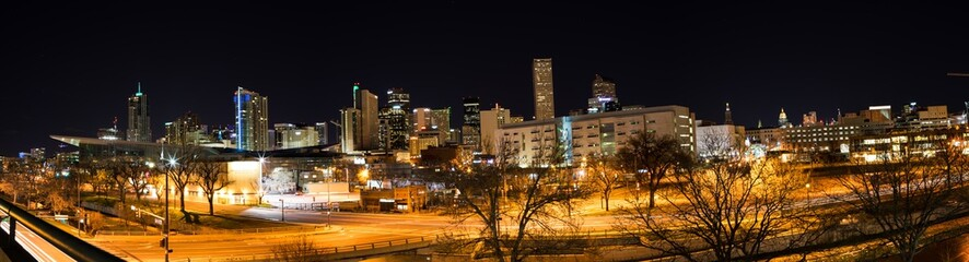 Panorama of the City of Denver at Night