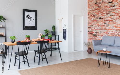 Brown Carpet In Front Of Grey Sofa Flat Interior With Poster And Black Chairs At