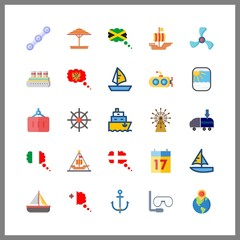 25 boat icon. Vector illustration boat set. cruise ship and aqualung icons for boat works