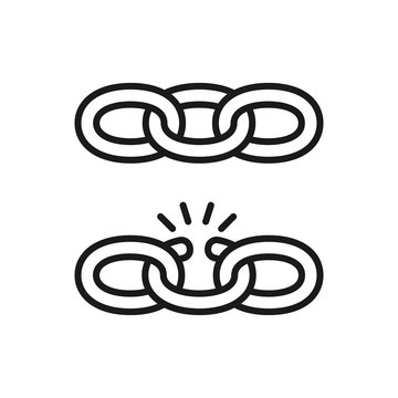 Black isolated outline icon of chain and broken chain on white background. Set of Line Icon of chain. Weak link.