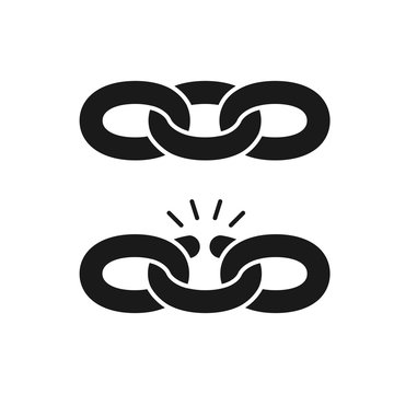 Black isolated icon of chain and broken chain on white background. Set of Silhouette of chain. Weak link. Flat design.