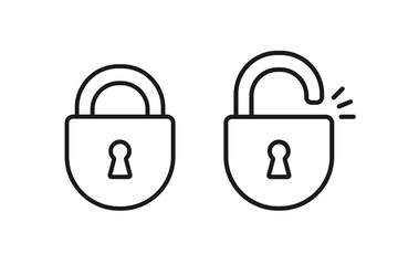 Black isolated outline icon of locked and unlocked lock on white background. Set of Line Icon of padlock.