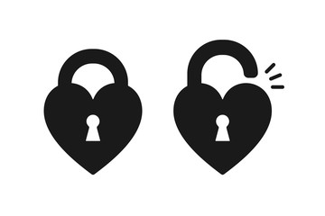 Black isolated icon of locked and unlocked heart shape lock on white background. Set of Silhouette of locked and unlocked heart shape lock. Flat design.