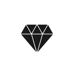 Black isolated icon of diamond on white background. Silhouette of brilliant. Flat design.