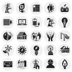 Alternative energy set on circles white background icons