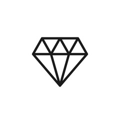 Black isolated outline icon of diamond on white background. Line Icon of brilliant.