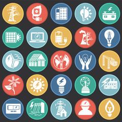 Alternative energy set on color circles black background icons
