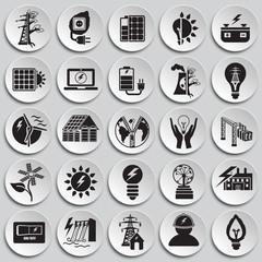 Alternative energy set on plates background icons