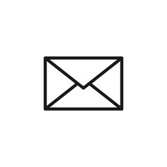 Black isolated outline icon of postal envelope on white background. Line Icon of envelope. Email, mail.