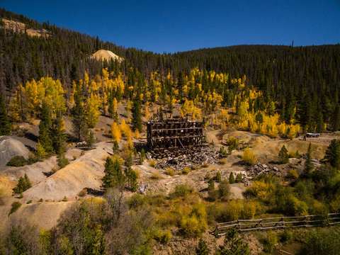 Aerial/Drone photo of an abandoned mine building in a ghost town.  Colorado Rocky Mountains, USA
