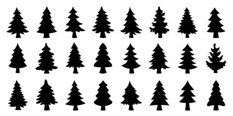 various christmas tree silhouette Wall mural