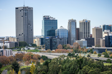 Landscape of Perth city from Kings Park