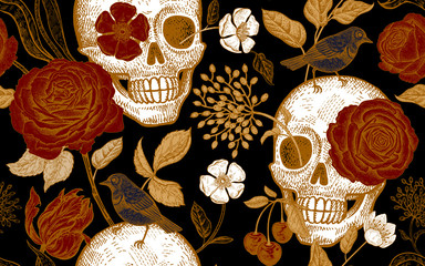 Floral seamless pattern with symbols of day dead. Skulls, rose flowers, tulips and birds.
