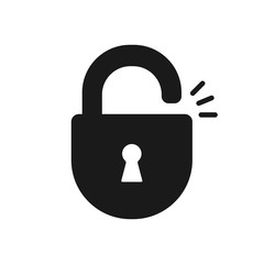 Black isolated icon of unlocked lock on white background. Silhouette of unlocked padlock. Flat design.