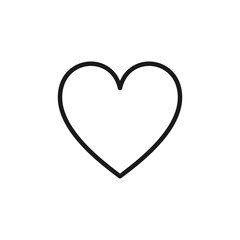 Black isolated outline icon of heart on white background. Line Icon of heart.