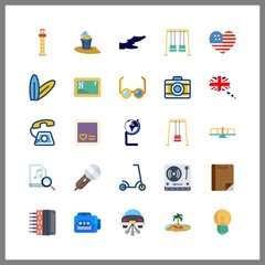 25 retro icon. Vector illustration retro set. bucket and amusement park icons for retro works