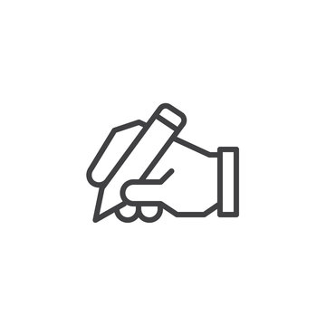Hand writing outline icon. linear style sign for mobile concept and web design. Hand hold pen simple line vector icon. Copywriter symbol, logo illustration. Pixel perfect vector graphics
