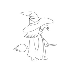 Isolated black outline cartoon witch on white background. Curve lines. Page of coloring book. Halloween illustration.