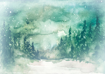 Watercolor painting, illustration, greeting card. fog Forest, suburban landscape, silhouettes of fir trees, pines, trees and bushes, the night sky with stars. Green, white, gray colors.