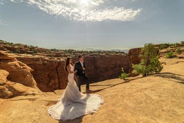 Asian/Vietnamese Bride with her Caucasian Groom.  Utah Desert, near Moab.