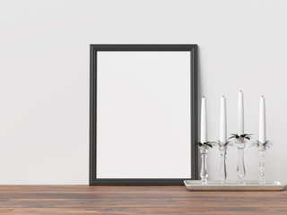 Poster Mockup Frame with Christmas Decoration