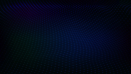 Abstract Dark Techno Low Poly Space. Dots And Lines