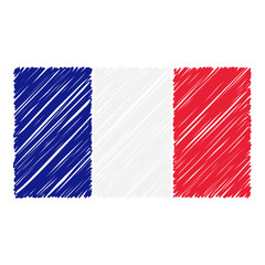 Hand Drawn National Flag Of France Isolated On A White Background. Vector Sketch Style Illustration. Unique Pattern Design For Brochures, Printed Materials, Logos, Independence Day