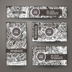 Corporate Identity vector templates set design with doodles Classic music theme