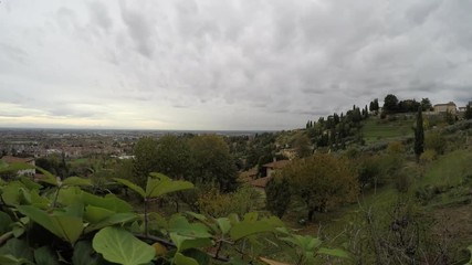 Fotomurales - view from Bergamo hills to Po Valley in a cloudy day - italian travel destinations - time lapse