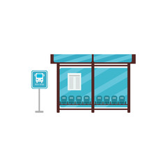 Empty Bus Stop with bench,  bus stop sign. Vector illustration.