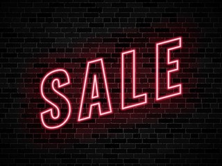 neon signs sale on dark brick wall background. easy to edit and customize vector illustration for greeting cards, posters, invitations, brochures. eps10