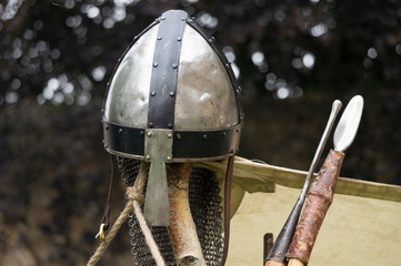 Norman helmet and spears.